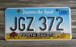 North Dakota Buffalo Discover The Spirit License Plate 2015 JZM 734