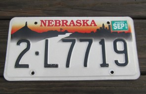 Nebraska City Scene Sunset  License Plate 1999