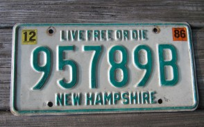 New Hampshire Live Free Or Die License Plate 1986