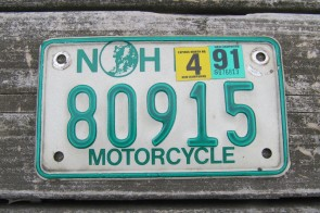 New Hampshire White Trailer License Plate 1977