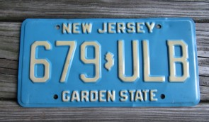 New Jersey Motorcycle Yellow Fade License Plate 1995
