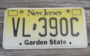 New Jersey Garden State License Plate Yellow Fade VL 390C