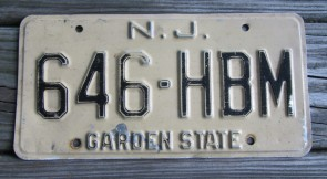 New Jersey Garden State Tan License Plate 1980's