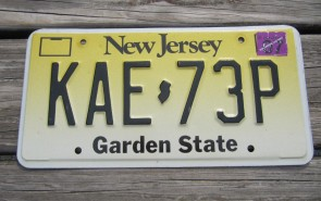 New Jersey Garden State License Plate Yellow Fade 2002