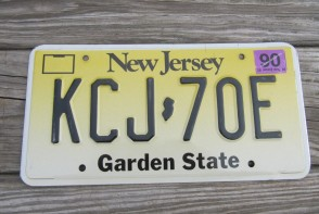 New Jersey Garden State License Plate Yellow Fade 2001 KCJ 70E