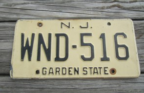 New Jersey Garden State Tan License Plate 1970's