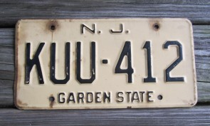 New Jersey Garden State License Plate Yellow Fade