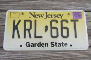 New Jersey Garden State License Plate Yellow Fade 2001 KRL 66T