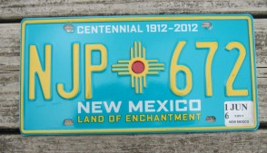 New Mexico Yellow Land Of Enchantment License Plate 2016