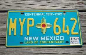 New Mexico Centennial License Plate 2015 Land Of Enchantment 1912 -2012