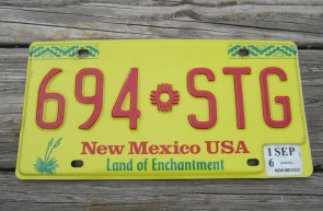 New Mexico Yellow Land Of Enchantment License Plate 2016 964 STG