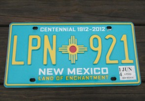 New Mexico Centennial License Plate 2014 Land Of Enchantment 1912 -2012