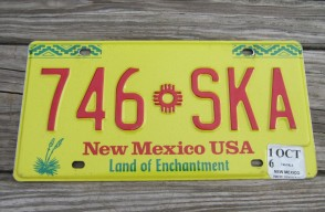 New Mexico Yellow Land Of Enchantment License Plate 2016 746 SKA