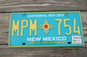New Mexico Centennial License Plate 2014 Land Of Enchantment 1912 -2012 MPM 754