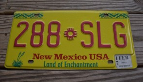 New Mexico Yellow Land Of Enchantment License Plate 2017