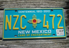 New Mexico Centennial License Plate 2015 Land Of Enchantment 1912 -2012 MPN 238