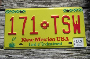 New Mexico Yellow Motorcycle License Plate 2016