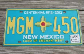 New Mexico Centennial License Plate 2016 Land Of Enchantment 1912 -2012 MGM 450