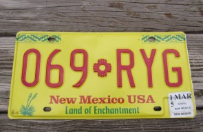 New Mexico Yellow Land Of Enchantment License Plate 2015