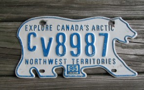 Canada North West Territories Polar Bear License Plate 1995