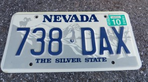 Nevada Big Horn Ram License Plate 1992 The Silver State