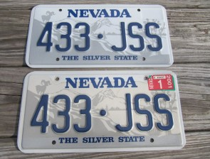 Nevada Big Horn Ram License Plate Pair 2001 The Silver State 433 JSS