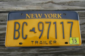 New York Gold Trailer License Plate 2015