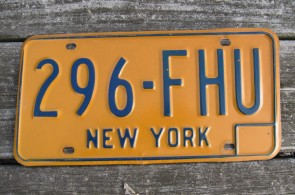 New York Blue Yellow Blue License Plate Pair 1970's