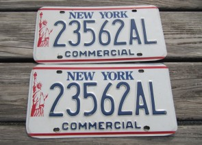 New York Statue of Liberty Commercial  License Plate Pair 1990's
