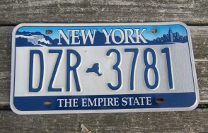 New York Motorcycle Yellow Blue License Plate 1979
