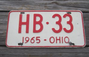 Ohio Red White License Plate 1965 HB 33