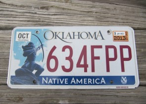 Oklahoma Arrow Shooter Native America License Plate 2013