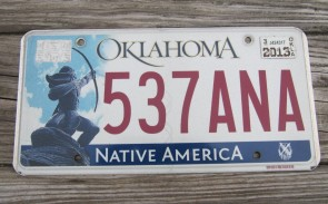 Oklahoma Arrow Shooter Native America License Plate 2015 537 ANA