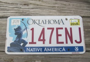 Oklahoma Arrow Shooter Native America License Plate 2015