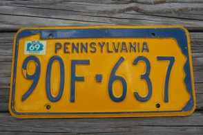 Pennsylvania State Shaped License Plate 1969