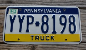 Pennsylvania Visit PA Truck License Plate 2012