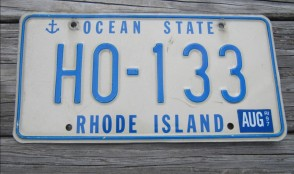 Rhode Island Ship Anchor License Plate 1997