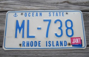 Rhode Island Ship Anchor License Plate 1999