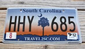 South Carolina Travel 2 SC Sunset License Plate 2012