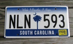 South Carolina In God We Trust License Plate 2016 American Flag