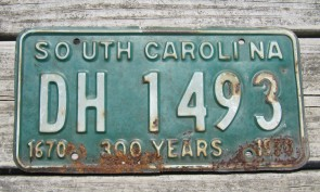 South Carolina Palm Tree License Plate 1990 YSG 732