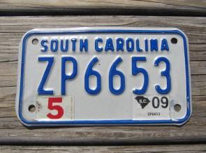 South Carolina Motorcycle License Plate 2009