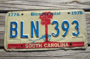 South Carolina Bicentennial Palm Tree License Plate 1976 Civil War Cannon