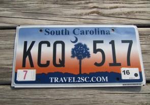 South Carolina Travel 2 SC Sunset License Plate 2016