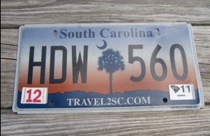 South Carolina Travel 2 SC Sunset License Plate 2011 HDW 560