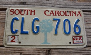 South Carolina Palm Tree License Plate 1990