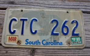 South Carolina State Outline License Plate 1985