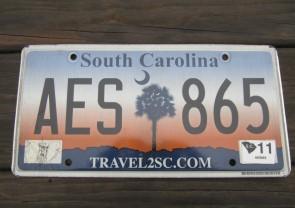 South Carolina Travel 2 SC Sunset License Plate 2011