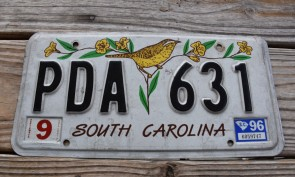 South Carolina Wren License Plate 1996