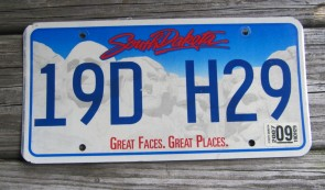 South Dakota Great Faces Great Places License Plate 2007